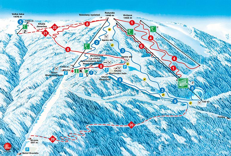 Mapa lyžiarských trás na Martinských holiach